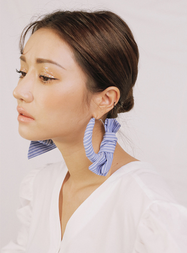 Molly Stripe scarfed hoop earring